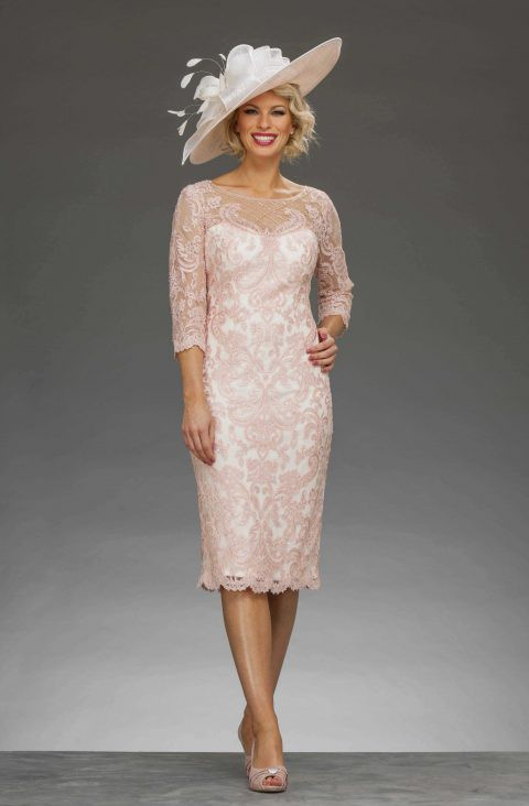 0acbb4b5dfd Short fitted dress with matching chiffon coat. 008878
